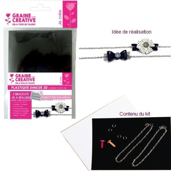 Kit DIY de réalisation de 2 Bracelets Plastique dingue rétractable Noir et Blanc avec Chaines et bra - Photo n°1