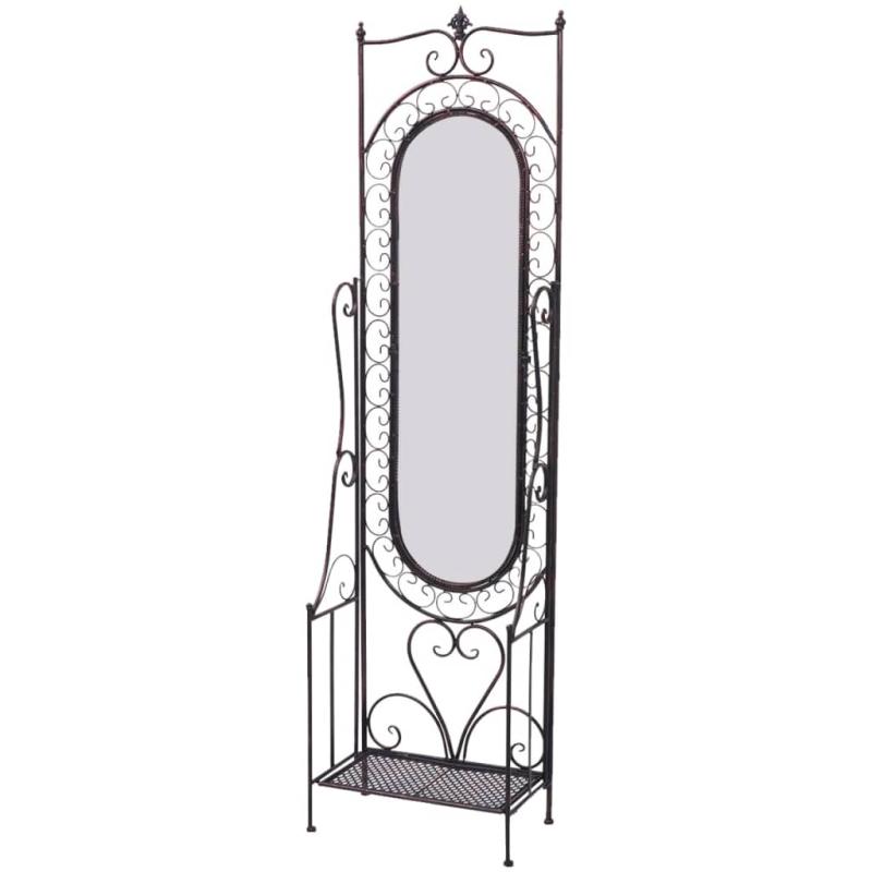 Vidaxl miroir sur pied us en fer antique noir miroir for Miroir autocollant en rouleau