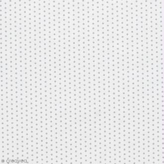 Tissu Frou Frou - Pois argentés - Fond blanc  - A la coupe par 10 cm (sur mesure)