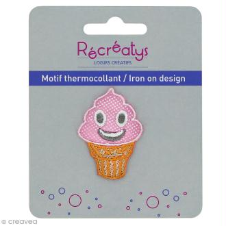 Motif thermocollant Pastel - Glace rose - 3 x 4,5 cm