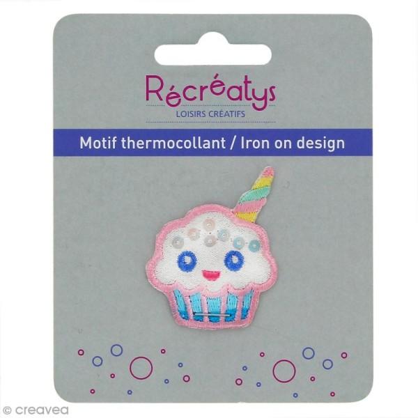 Motif thermocollant Pastel - Cupcake licorne - 3,5 x 4,5 cm - Photo n°1