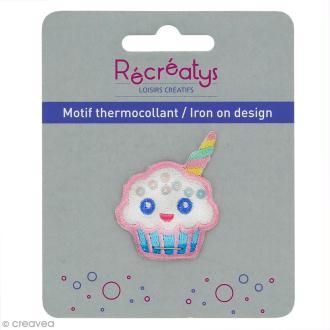 Motif thermocollant Pastel - Cupcake licorne - 3,5 x 4,5 cm