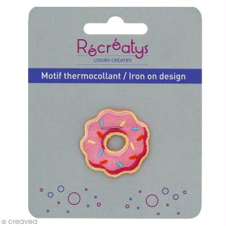 Motif thermocollant Pastel - Donut rose - 3 x 3 cm