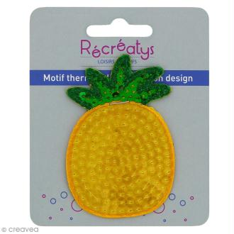 Motif thermocollant à sequins Funky - Ananas - 5 x 7,5 cm