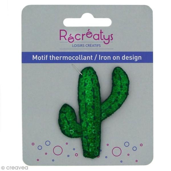 Motif thermocollant à sequins Funky - Cactus - 5 x 6 cm - Photo n°1
