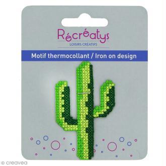 Motif thermocollant point de croix Tropical - Cactus - 4 x 6,5 cm