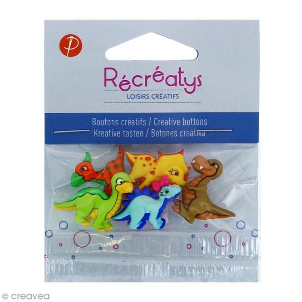Boutons décoratifs - Dinosaures colorés - 5 pcs - Photo n°1