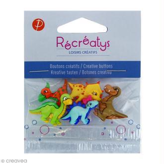 Boutons décoratifs - Dinosaures colorés - 5 pcs