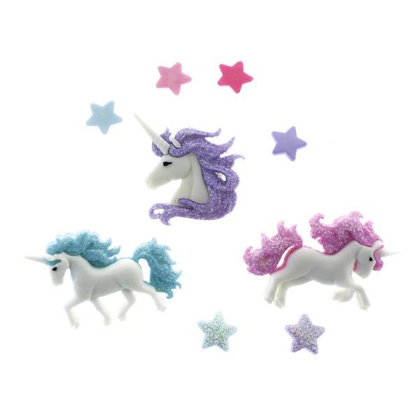 Boutons décoratifs - Licornes pailletées - 3 pcs - Photo n°1