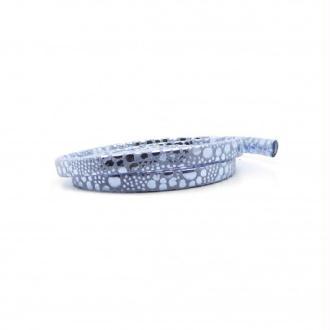 Lacet cuir plat 05mm perle bleu suédé impression vernis - Europe - par 1 mètre