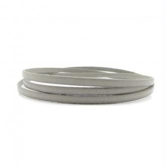 Lacet cuir plat 05mm gris perle - Europe - par 1 mètre
