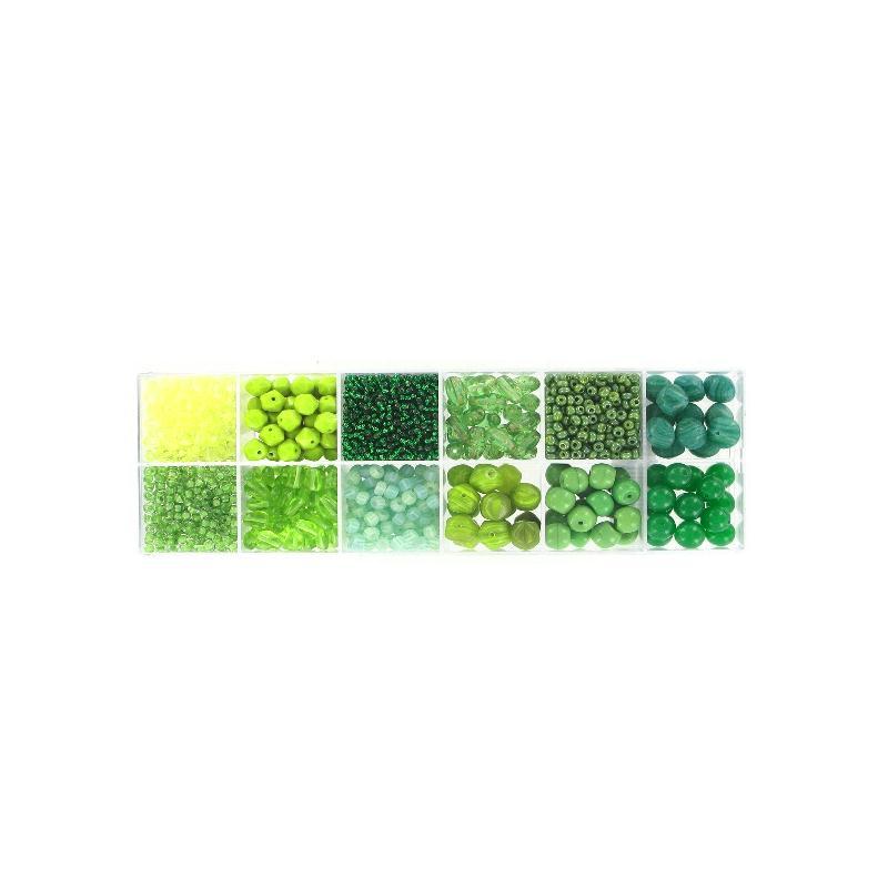 kit coffret prestige 12 cases pour bijoux nuances vertes kit bijoux adulte creavea. Black Bedroom Furniture Sets. Home Design Ideas