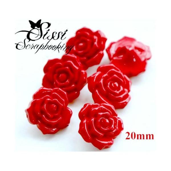 10 roses en tissu 20mm rouge