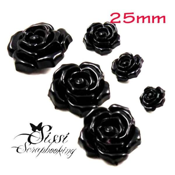 Lot 4 Maxi Boutons Fleur Noir Enfant Rose Petale Mode Camelia