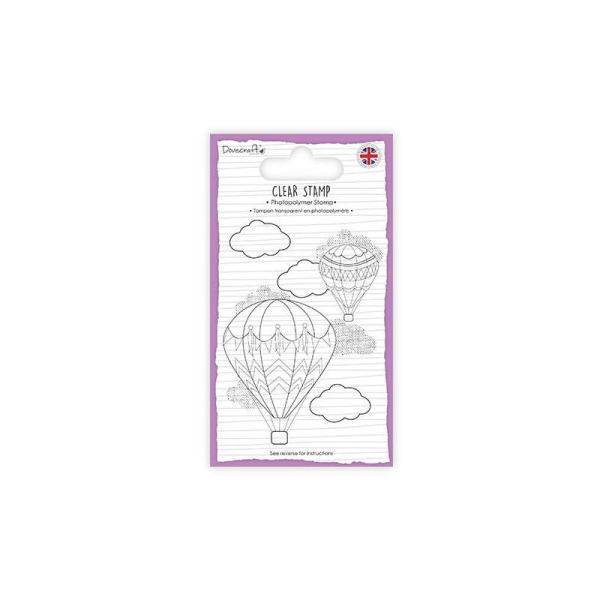 Lot Tampon Transparent Clear Stamp Montgolfiere Air Balloon Voyage Scrapbooking Scrap Carte 9X7cm - Photo n°1