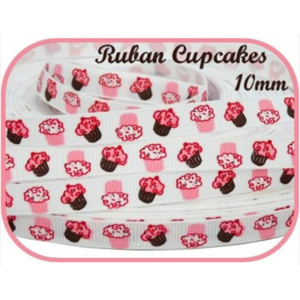 RUBAN GROS GRAIN CUPCAKES MUFFINS PATISSERIE CUIUSINE SCRAPBOOKING COUTURE 10mm