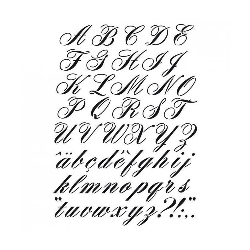 Pochoir lettres majuscules et minuscules style manuscrit - Alphabet majuscule a imprimer ...