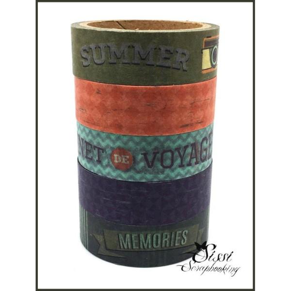 Maxi Lot Masking Tape (X5) Masking Tape Artemio Sweet Memories Voyage Travel Vintage Retro 5X15mm - Photo n°1