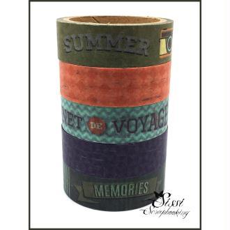 MAXI LOT Masking tape (x5) Masking Tape Artemio SWEET MEMORIES VOYAGE TRAVEL VINTAGE RETRO 5X15MM