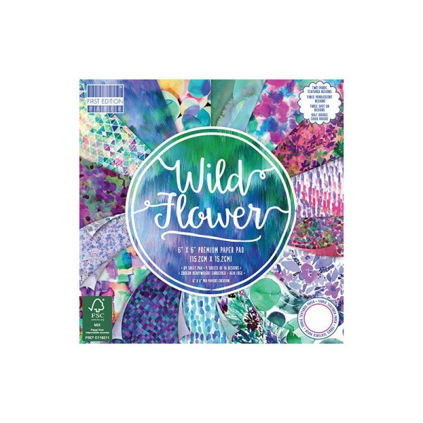 Lot 16 Feuille Cardstock Aquarelle Bleute Violet Wild Flower Scrapbooking Scrap 15X15 cm - Photo n°1