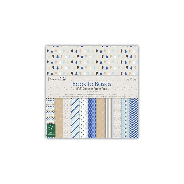 Maxi Bloc 48 Feuille Papier True Blue Multicolore Scrapbooking Scrap Carte 20X20cm 150 Gsm - Photo n°1