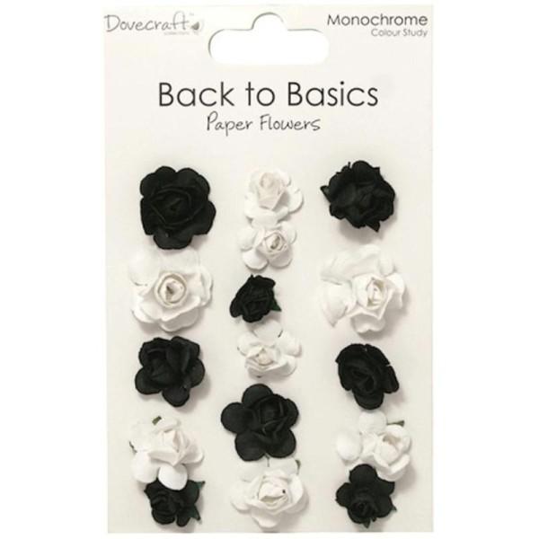 Lot 16 Fleurs En Papier Noir Et Blanc Scrapbooking Scrap Carte 2 Et 3cm Mariage - Photo n°1