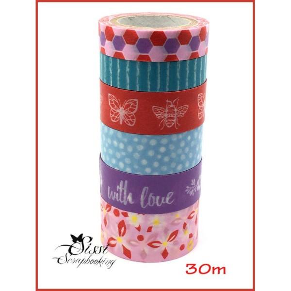 Maxi Lot Masking Tape (X6) Masking Tape Washi Tape 30M 6 Pcs Painted Blooms - Photo n°1