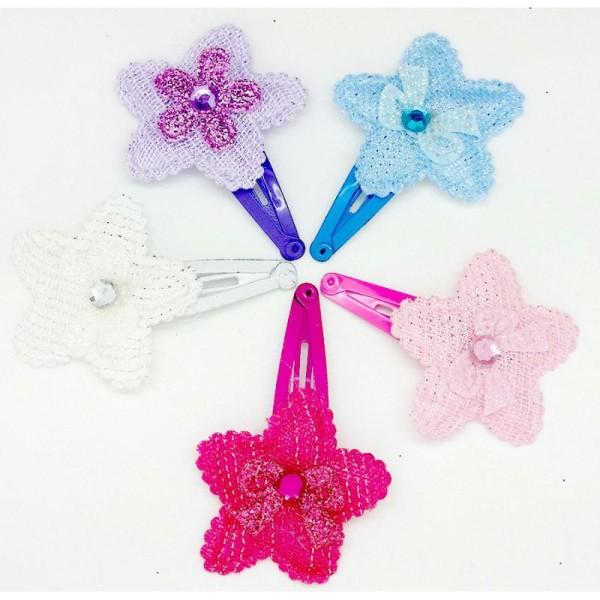 meilleure valeur bon marché vente moins chère Maxi Lot 5 Barrettes Pinces A Cheveux Fleurs Metal Clip 50mm Fleur + Noeud  + Strass