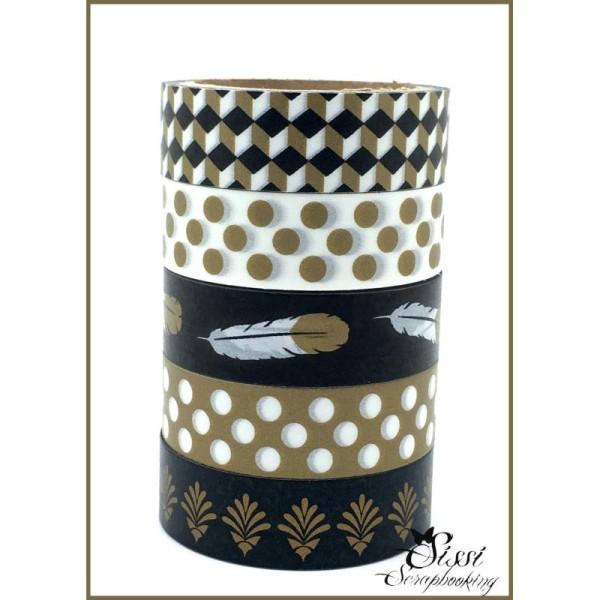 Maxi Lot Masking Tape (X5) Masking Tape ruban Decoratif Artemio - Vip Noir Et Blanc Dore - 15mm - Photo n°1