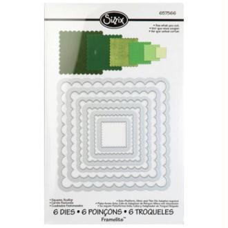 Framelits Sizzix - Kit de gabarits carr�s cisel�s - 6 pcs BIG SHOT SIZZIX / PRO DIE CUT DIES