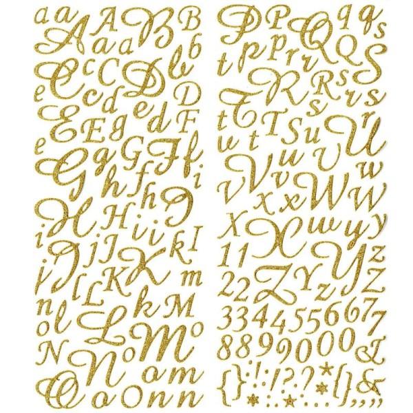 Alphabet Autocollant Pailleté Doré 177 Lettres Faire Part Mariage Bapteme