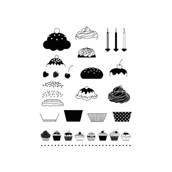 Maxi Planche Lot Tampon Artemio Gateau Cupcake Cuisine  Muffin Scrapbooking 19X15cm - Photo n°1