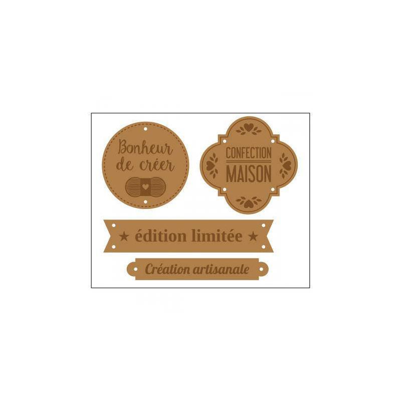 Maxi lot 4 etiquettes en cuir coudre marron clair for Arbalete fait maison puissante