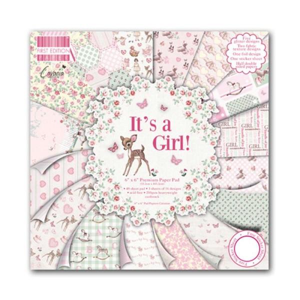 Lot 16 Feuille Papier It'S A Girl Fille Naissance Bapteme Cardstock Scrap 20X20 cm - Photo n°1