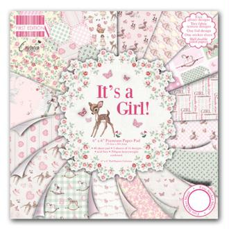 Lot 16 Feuille Papier It'S A Girl Fille Naissance Bapteme Cardstock Scrap 20X20 cm