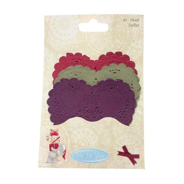 Lot 30 Napperon Forme De Coeur En Papier Rouge Kaki Violet Scrapbooking Scrap Embellissement - Photo n°1