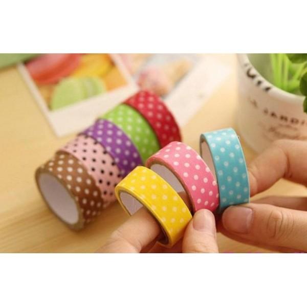 Lot 24 Métres Masking Tape Multicolore Arc En Ciel A Pois Rainbow Autocollant Scrapbooking 15mm - Photo n°1