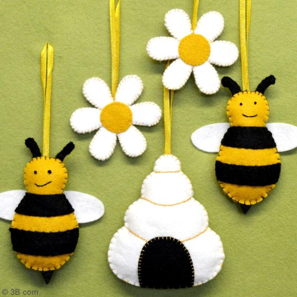 Kit feutrine - Abeilles ruches et fleurs - Photo n°2