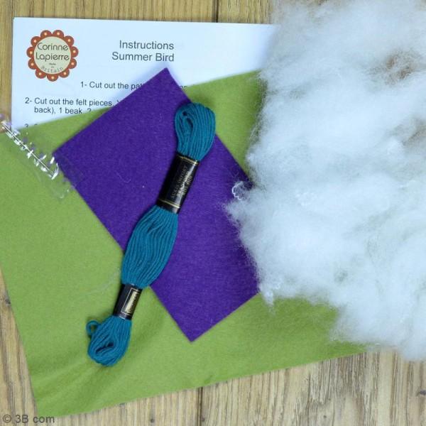 Mini Kit feutrine - L'oiseau vert - Photo n°3