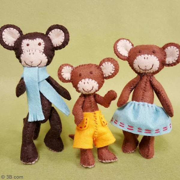 Kit feutrine - La famille singe - Photo n°2
