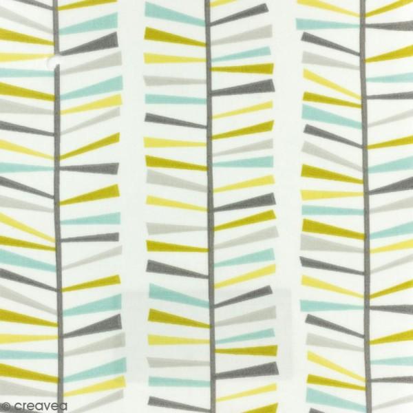 Tissu Fryett's Toile cirée - Motifs géométriques  - bleu, vert, gris - Par 10 cm (sur mesure) - Photo n°1