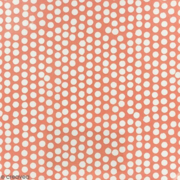 Tissu Fryett's Toile cirée - Pois blancs - Fond orange - Par 10 cm (sur mesure) - Photo n°1
