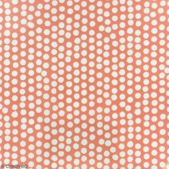 Tissu Fryett's Toile cirée - Pois blancs - Fond orange - Par 10 cm (sur mesure)