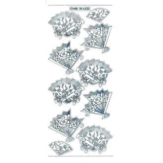 Transparent Stickers Double Embossage éventail Asie MD356232 argenté