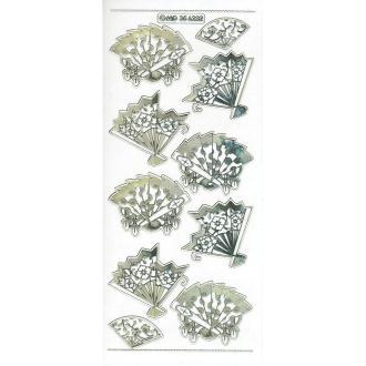 Transparent Stickers Double Embossage éventail Asie MD356232 doré