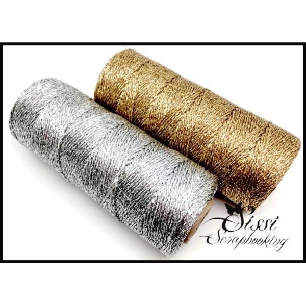 Maxi Lot 20M Ficelle Baker Twine Argente Silver Et Dore Gold Cadeau Mariage Paquet Naissance Gift - Photo n°1