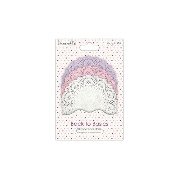 Lot 30 Napperon Forme De Rond En Papier Mauve Rose Blanc Scrapbooking Scrap Back To Basics - Photo n°1