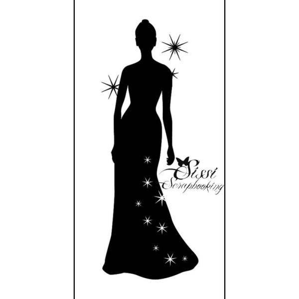 Caoutchouc Silhouette Femme Maxi Shabby Chic Tampon Vintage Bois FwETCxBq