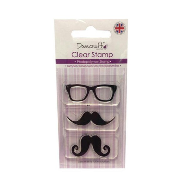 Lot Tampon Paire De Lunettes Moustache Monsieur Homme Bonhomme Scrapbooking Scrap Carte Clear Stamp - Photo n°1