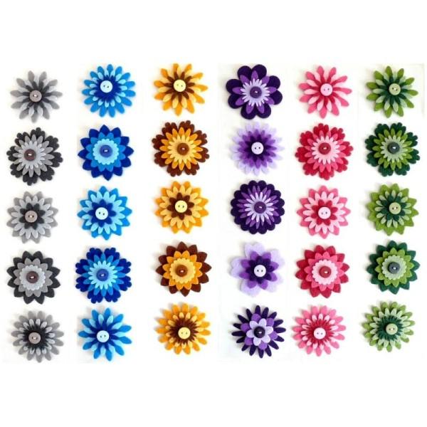 Lot Fleurs En Feutrine Scrapbooking Couture Decoration A Coudre Coller - Photo n°1